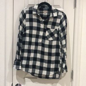 Merona Black & White Plaid Shirt Size Small